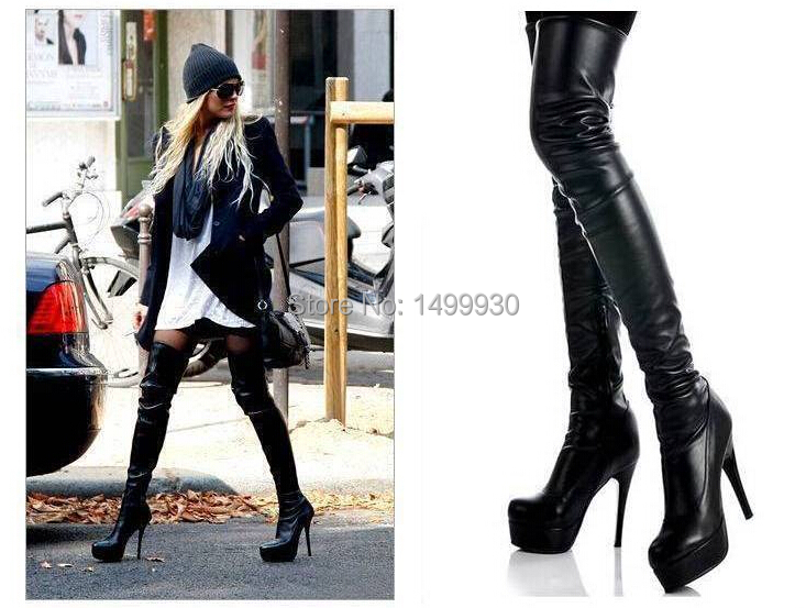 cbe3e165aab Get Quotations · 2014 Winter Fashion Girl Black Leather Overknee Boots  Women Thigh High Stiletto Boots Platform Gladiator Boots