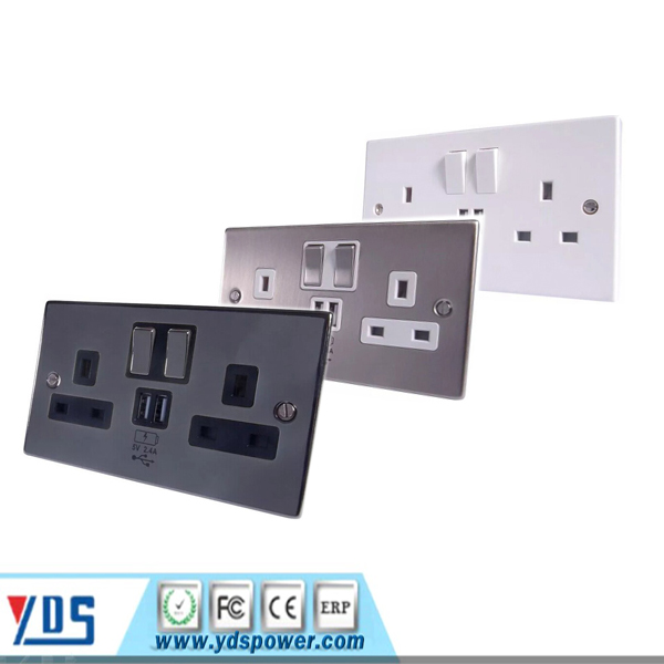 Flat Plate Gunmetal 13A Sockets, Switches etc Full Range Black Inserts