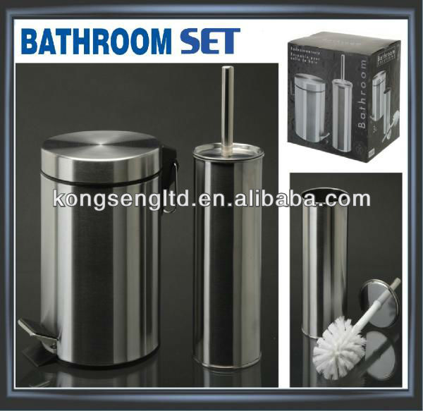 STAINLESS STEEL BATHROOM PEDAL BIN TOILET BRUSH HOLDER SET