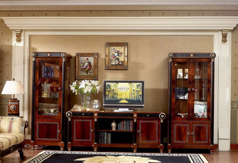 Yb10 Luxury Baroque Classic Living Room Tv Unit European Antique Mahogany Wine Display Cabinet
