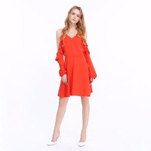 Spaghetti Strap Cold Shoulder Dress Plain V Nevk Chiffon Day Dress