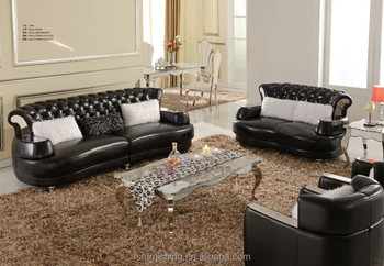 Fs038 Contemporary Black Pearl Shine Italian Leather Stainless Steel Modern Crystal Living Room European Sofa Office
