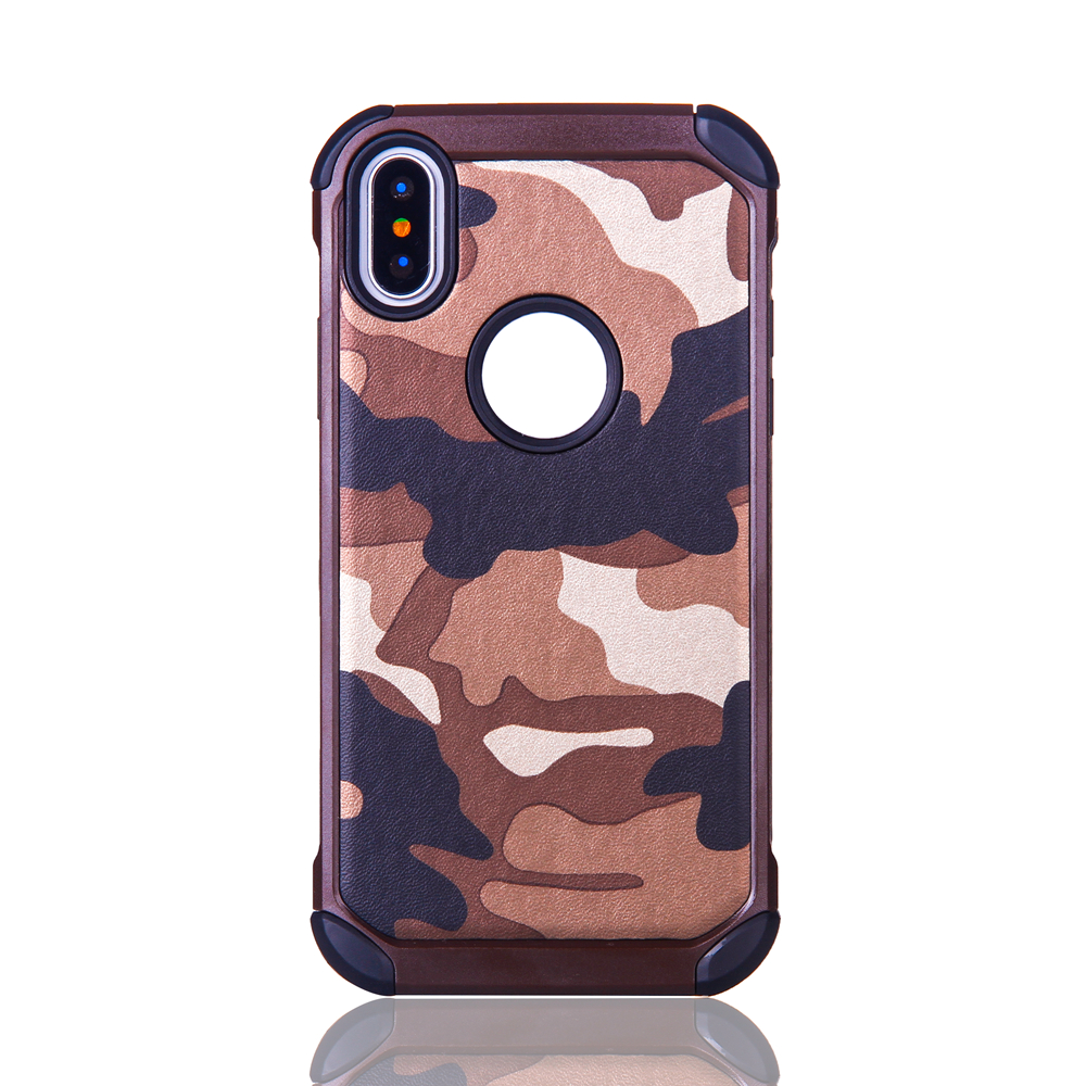 New Arrival Camouflage PC+TPU Corner Protective Anti-Knock Mobile Phone Cover Case for iPhone X