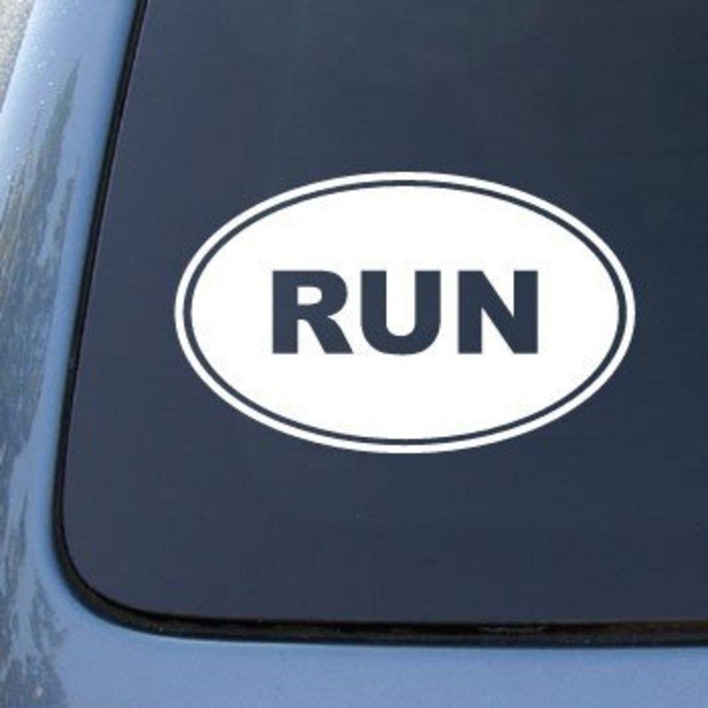 I Make Decals/™ running runner marathon EURO OVAL vinyl Sticker Decal Oval Half Marathon Run car bumper window sticker 5 x 3 13.1 race