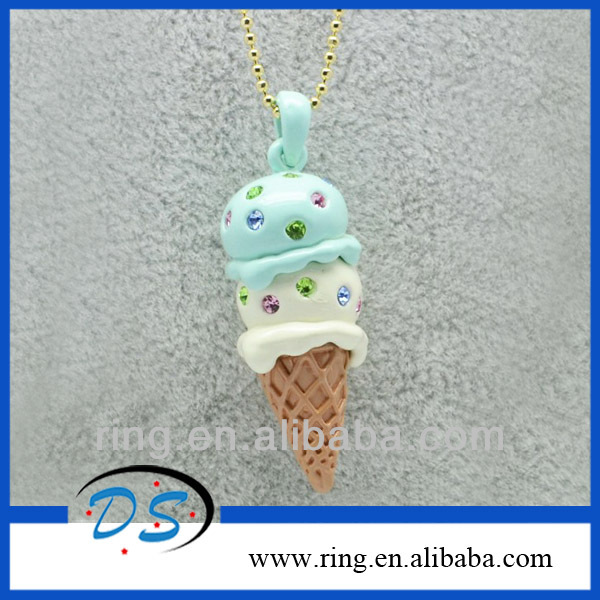 Lovely cute children ice-cream cone pendant necklace summer colletion necklace