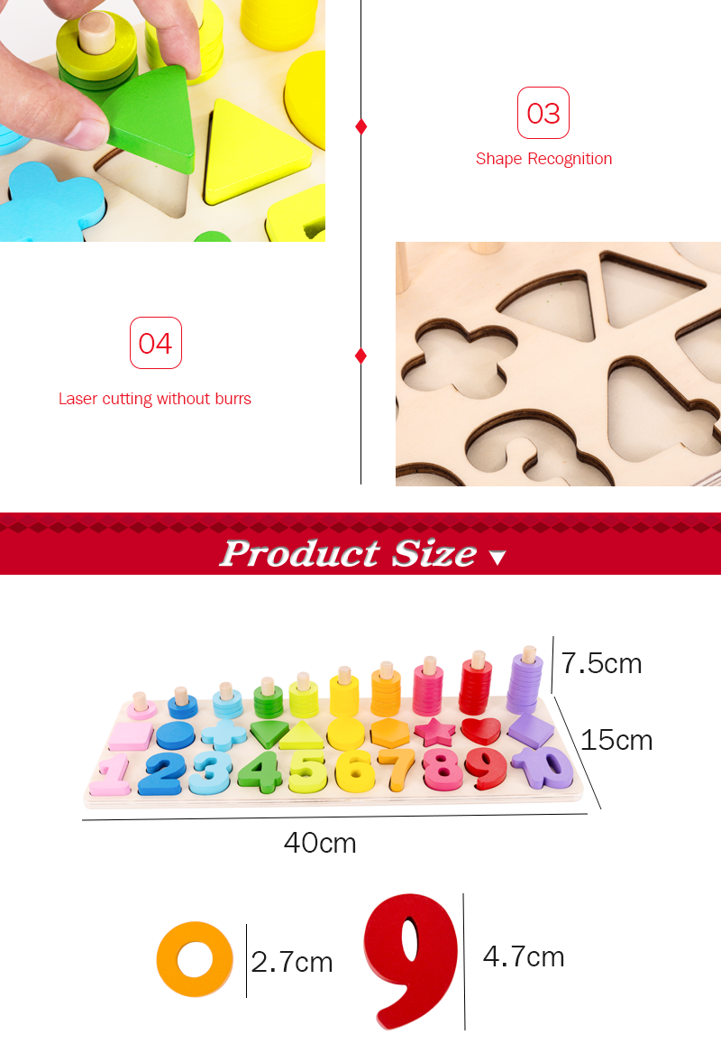 3 in 1 shape number recognition activity matching board wooden educational toy for kids 3+