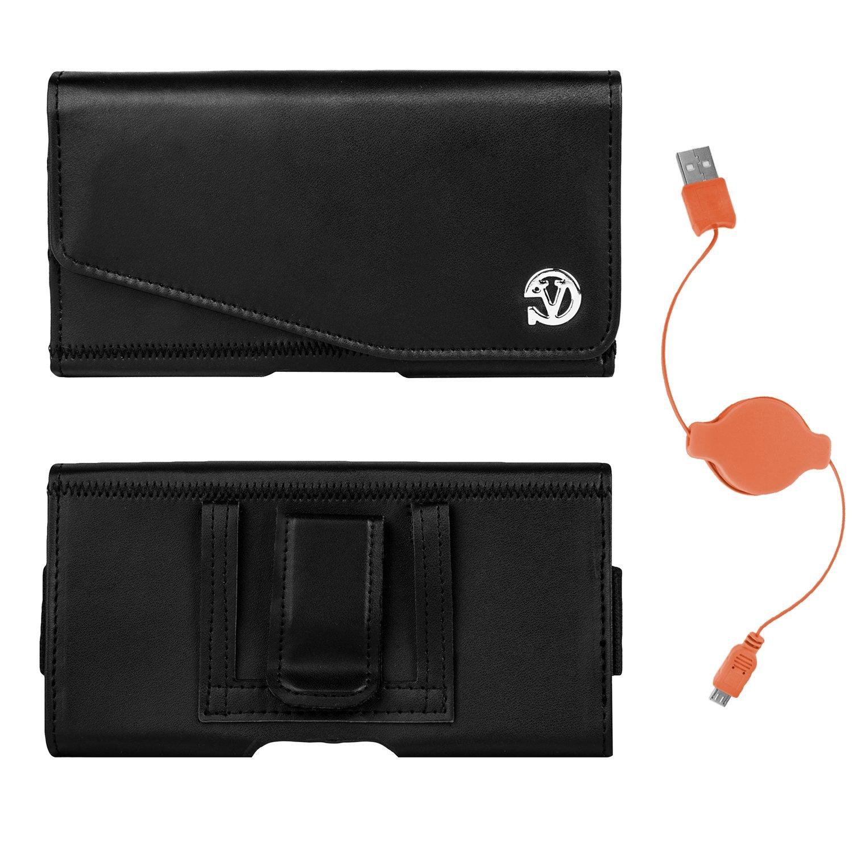 Noble Faux Leather Belt Hip Clip Holster Case for Xiaomi Mi 4 / Mi Note / Mi Note Pro / Mi 4i / Redmi 3 / Redmi Note Prime + USB Cable (Orange)