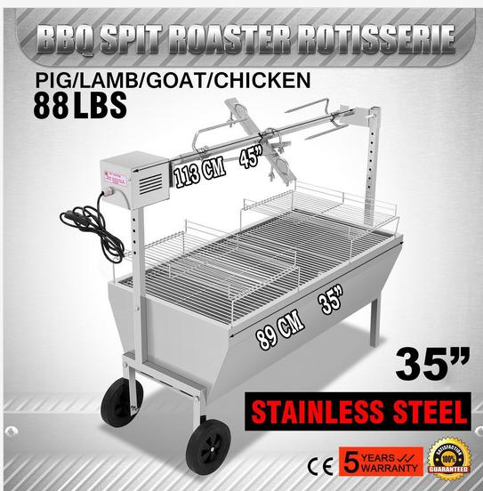 88 Lbs Rotisserie Grill Bearing Lamb Spit Roaster Machine Electric Trotter