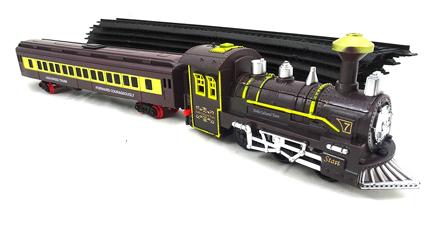 Locomotive Classic Toy Train With Working Headlights - Includes Train Track And Battery Operated Train