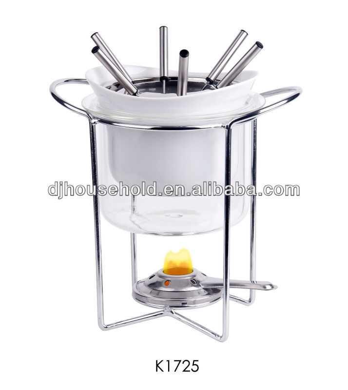 Ceramic Fondue Set of 11pcs with Pot, Forks and Burner Serves 6 Person K1725