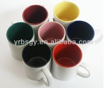 Custom color changing magic inside color outside white ceramic mug for wholesale