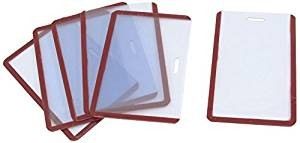 Uxcell Soft Plastic Vertical B8 ID Card Guard Badge Holders, 6-Piece, Clear Red