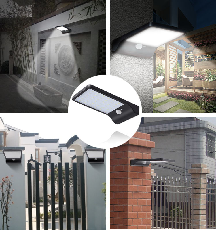 Solar Led Outdoor Gardens Wall Lamp Led Flat Panel Wall Lamp