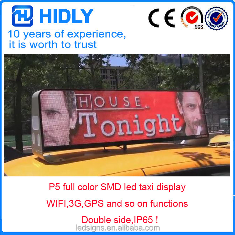 Outdoor window hanging on advertising P5 RGB 3G WIFI LED Sign/ Car Top Display/Taxi Light Box