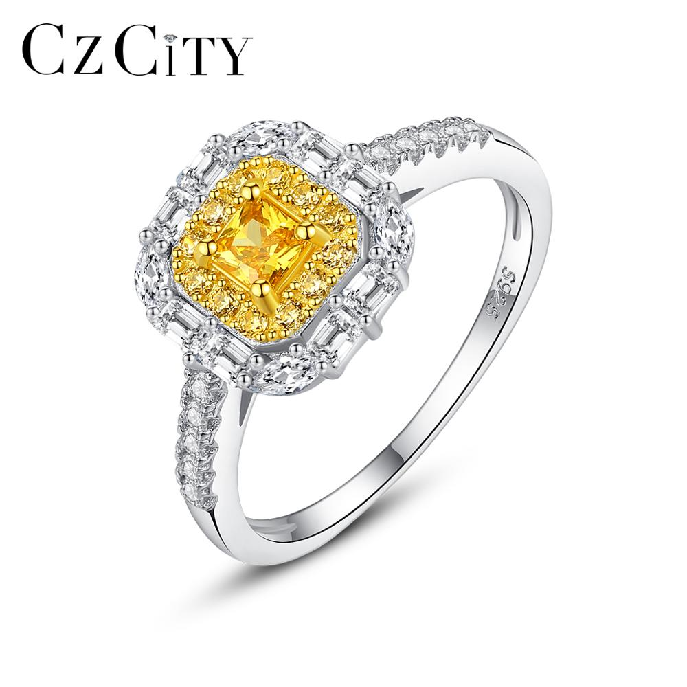 CZCITY Yellow CZ Vintage Engagement Wedding Rings Silver 925 Jewelry