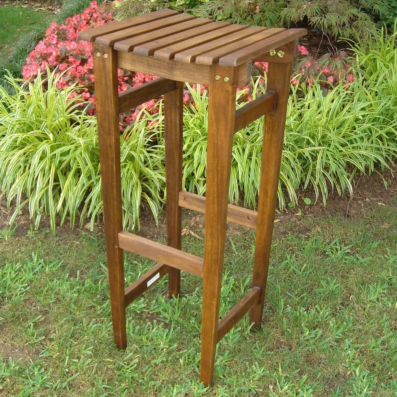 14th Mobility Brown Wooden Backless Bar Stool Set of 2, Acacia Wood Construction, All-Weather and Water Resistant Protective + Expert Guide