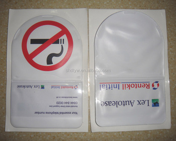 Custom printed Self Adhesive Shield Car Tax Disc pvc plastic card holder
