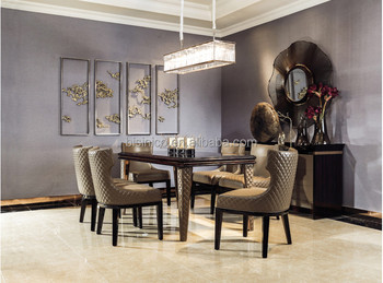 Italian Design Solid Wood Legs Contemporary Dining Table And Chair Set High End Room