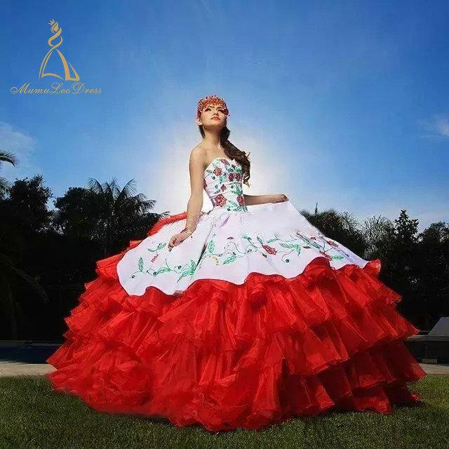 Robe De Bal bustier Broderie 2019 Sur Mesure À Plusieurs Niveaux Fleur Rouge Et Blanc Robes De Quinceanera robe personnalisée fabricant