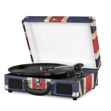 Classic Vintage portable belt drive Suitcase Turntable Record Player with OEM printing