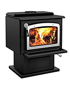 Get Quotations · Drolet Wood Stove On Pedestal Model Escape 1800   Nickel  Door DB03111