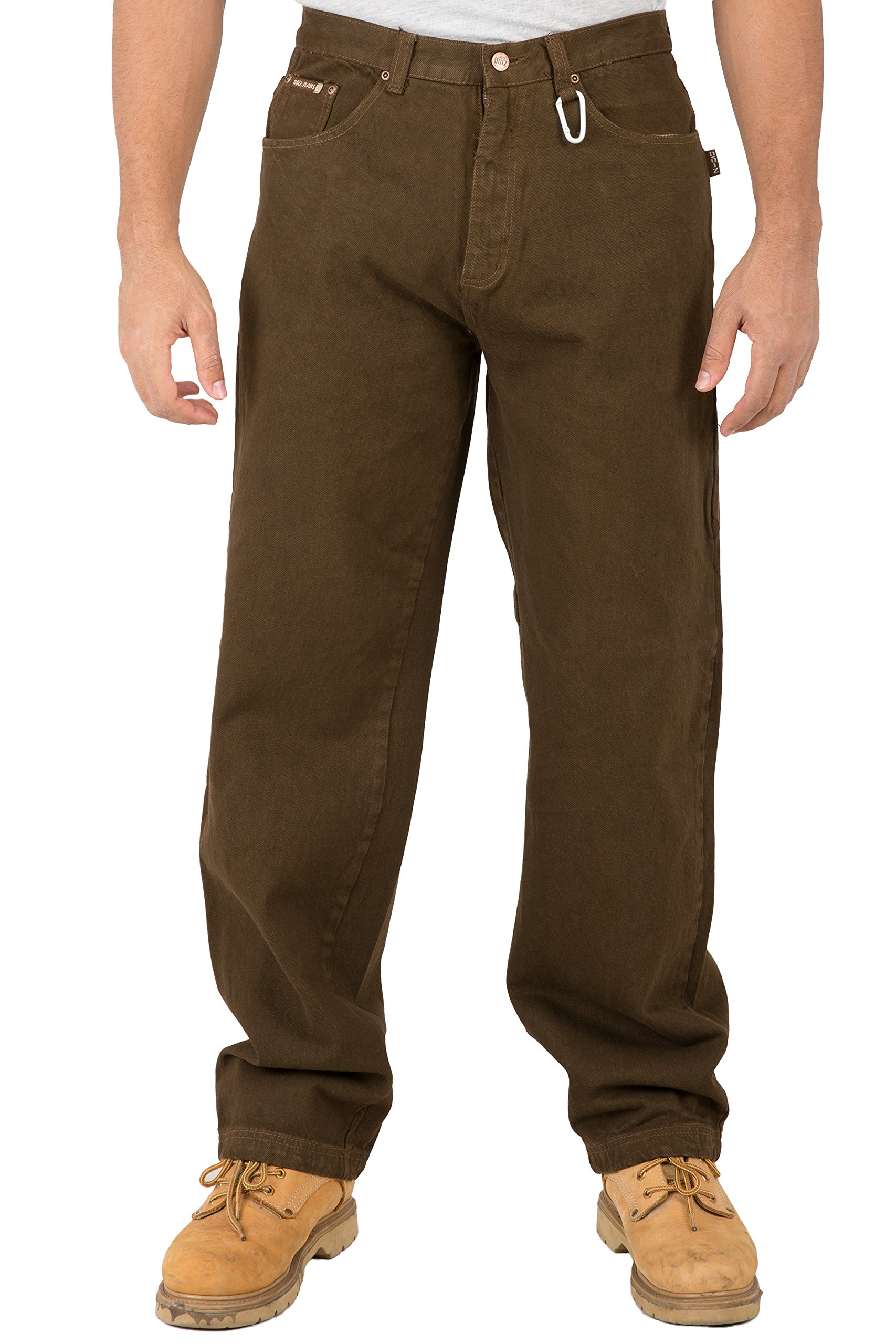 e659cb59 Get Quotations · Vibes Mens Relax Straight Leg 5 Pocket Brown Color Denim  Jeans Carabiner Clips On Belt Loop