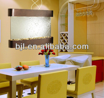 Living Room Wall Water Fountain With Water Drop Shape Mirror