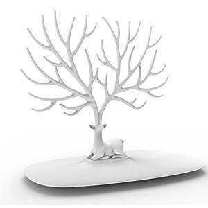 Jewelry Rack, FINER Creative Sika Deer Tree Jewelry Rack Display Stand Holder Organizer for Earrings Necklace Ring - White