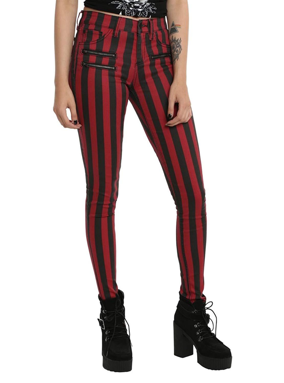 ce06269d714 Blackheart Black   Red Stripe Zipper Stingerette Jeans