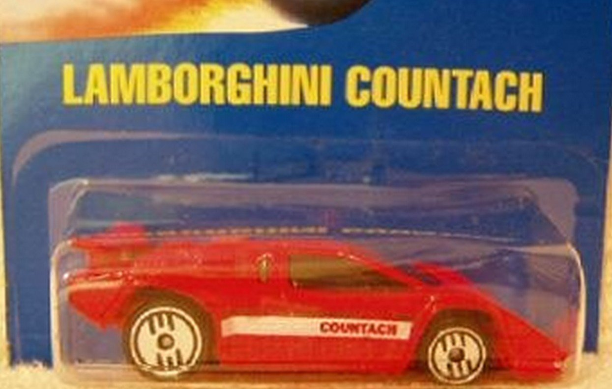 Mattel Hot Wheels 1991 1:64 Scale Red Lamborghini Countach Die Cast Car #232