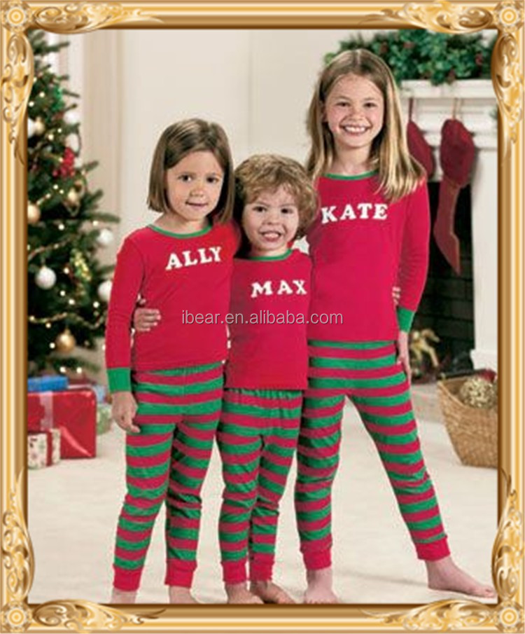 Red Striped Boutique Christmas Pajama Brother Sister Family ...