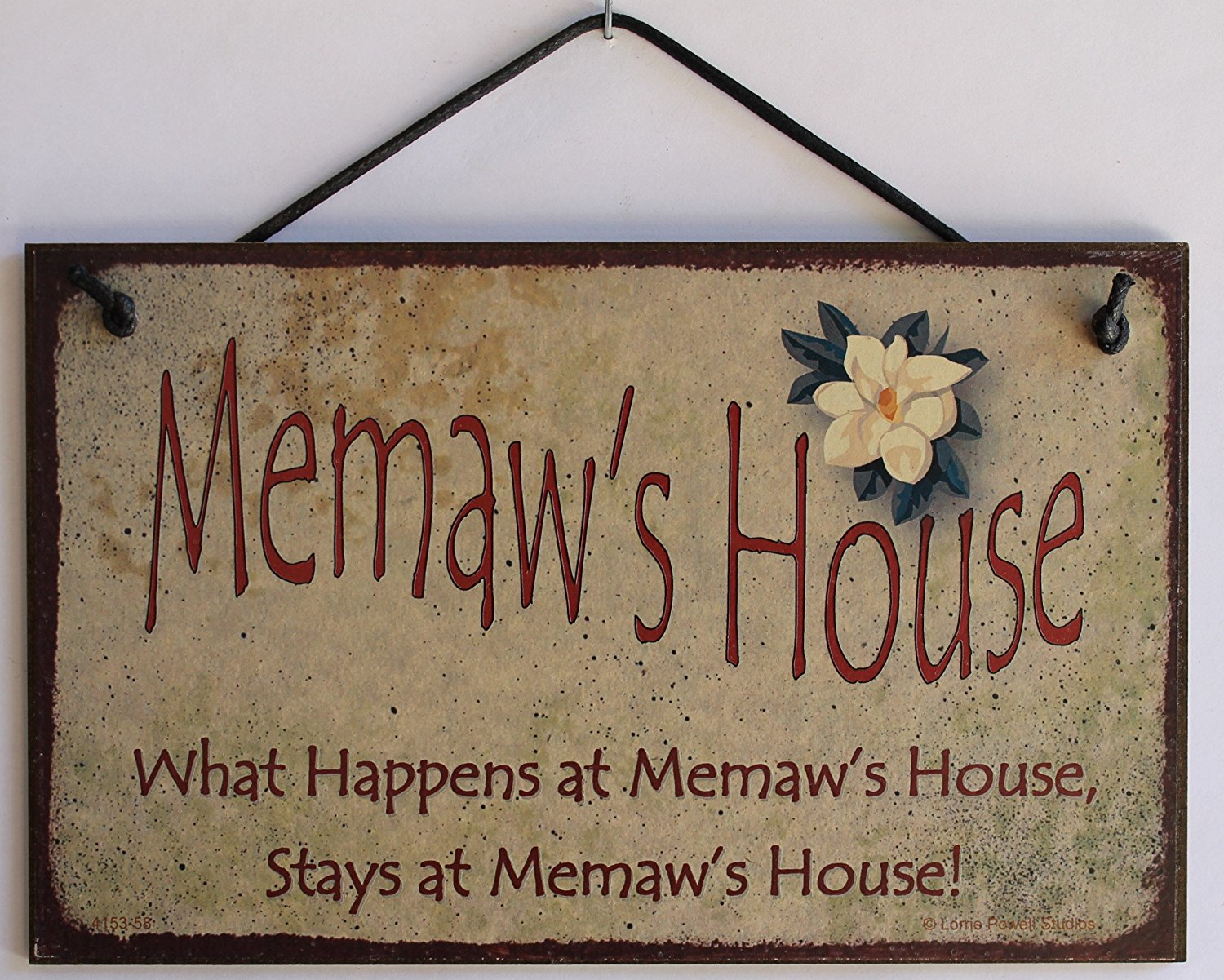 "5x8 Vintage Style Sign with Magnolia Saying, ""Memaw's House What Happens at Memaw's House, Stays at Memaw's House!"" Decorative Fun Universal Household Signs from Egbert's Treasures"