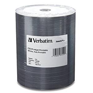 """Verbatim America, Llc - Verbatim Datalife Plus 52X Cd-R Media - Printable - 700Mb - 120Mm Standard - 100 Pack """"Product Category: Storage Media/Optical Media"""""""