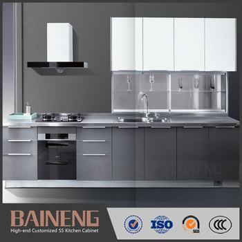 New Style Designs Of Kitchen Hanging Cabinets With High Gloss Vinyl