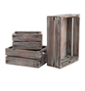 Wholesales rectangular handmade rustic finish brown set of 3 wooden storage containers