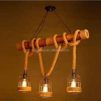 Vintage rope bamboo pendant lights loft creative industrial iron vintage rope bamboo pendant lights loft creative industrial iron pendant lamps bar light fixture hanging lamp aloadofball Image collections