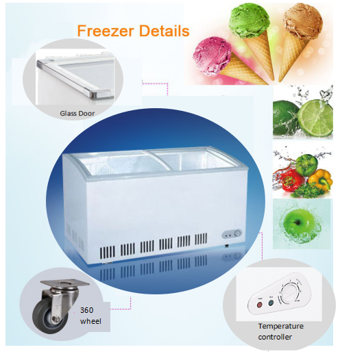 350L High Quality Chest Freezer With Glass door deep freezer