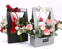 Wholesale Custom Logo Water Proof Florist Bouquet Box Packaging Flower Box for Rose Valentine Gift Flower Paper Box with Handle