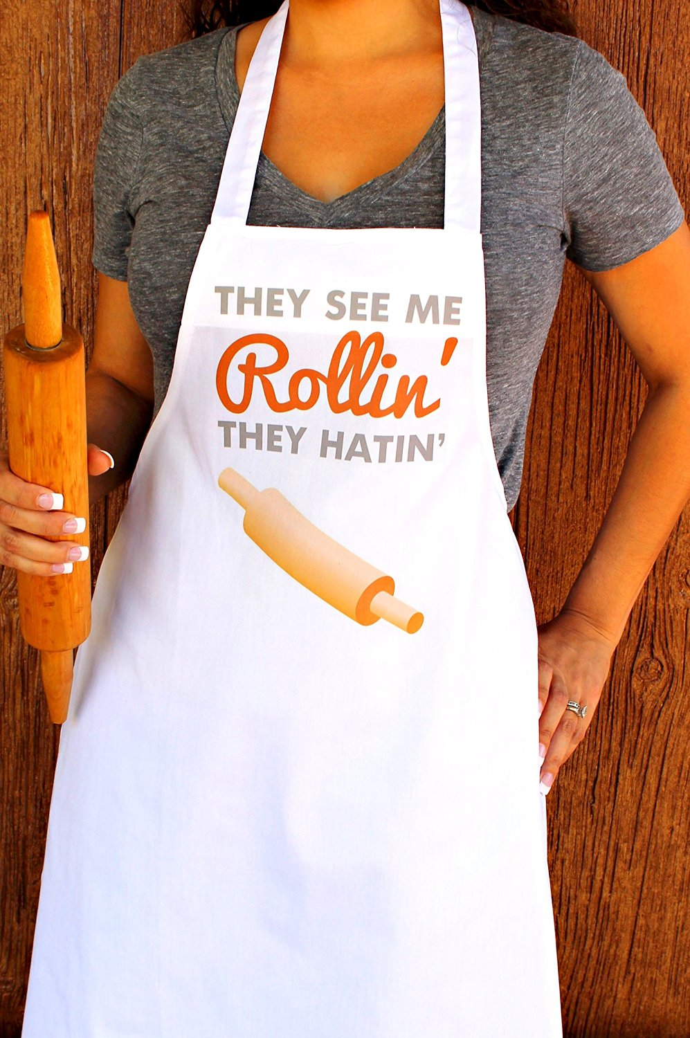 They See Me Rollin Brownish Orange They Hatin 100% Cotton Apron