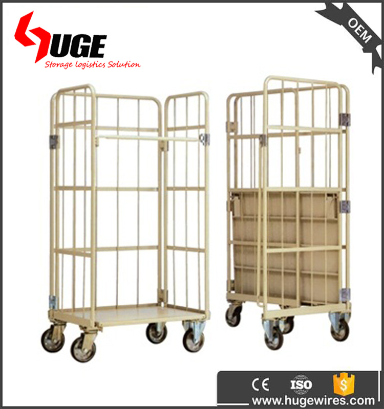 Stackable Folding Metal Powder Coating Roll Cage Trolley With Wheels