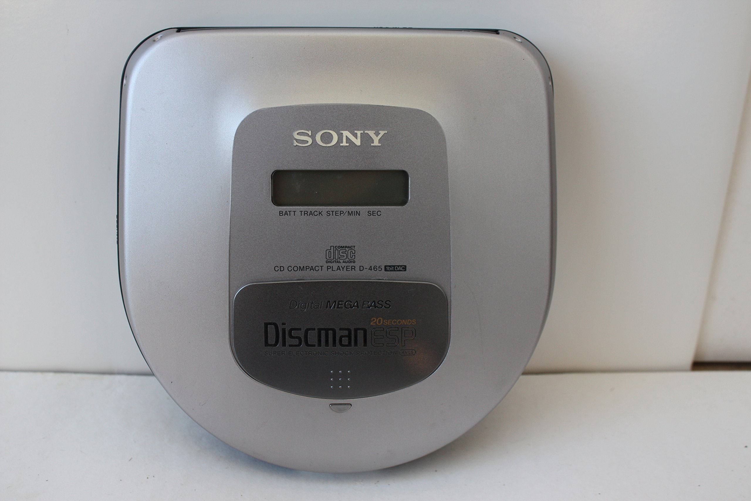 Sony Corp. Sony D-465 Sony CD Compact Player D-465 1bit DAC Digital MEGA BASS Discman ESP 20 Seconds Super Electroninc Shock Protection AVLS Sony CD portable Player Discman Model# D-465