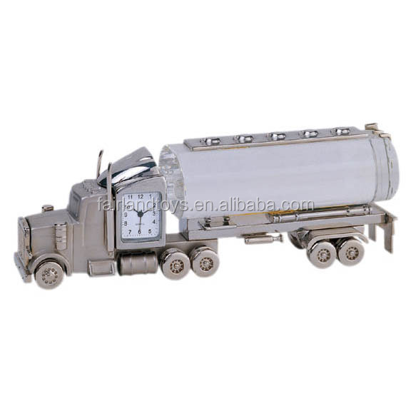 Full metal clock function oil tanker container model truck toy
