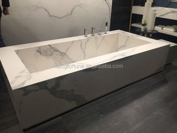 Italian White Marble Rectangular Bathtub