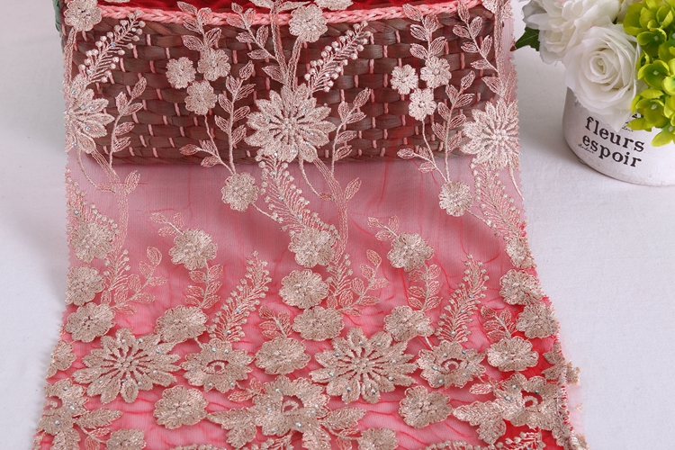 Promotional Top Quality gold gold lace fabric embroidery organza swiss lace fabric with stones