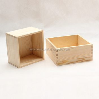 Small Wooden Storage Box Without Lids Square