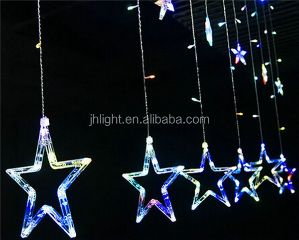 2M 138LEDs Star Fairy String Curtain Lights Christmas Wedding Party Decoration Multi Color Starry LED Curtain String Light