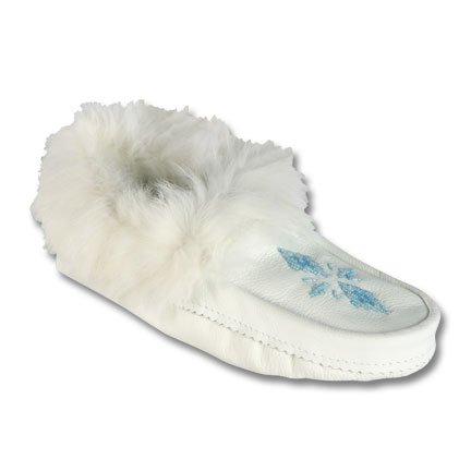 48764ea406f White Leather Rabbit Fur Handbeaded Moccasin Shoes - Buy Leather ...