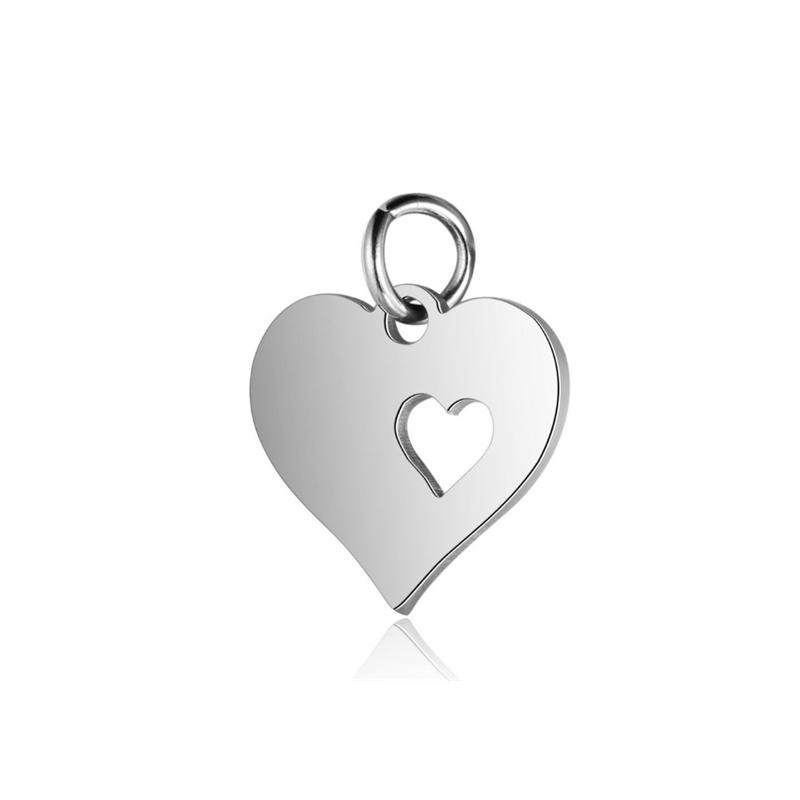 100 Gift SP Rhinestone Heart Charm Pendants 13x12mm