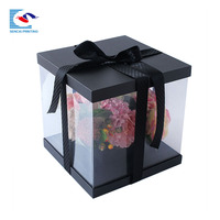 Custom Exquisite Square Shaped Flower Packaging Gift Box with PVC