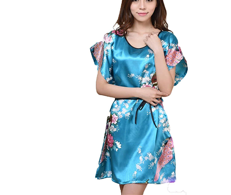 Get Quotations · Beautface Makeup sleepwear Silk Nightdress Ladies Silk  Pajamas Thin Home Clothing Robe 7560482db